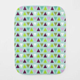Geometric Triangles Mint Green Purple Pattern Baby Burp Cloths