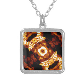Geometric Triangles Orange Brown Black Abstract Silver Plated Necklace