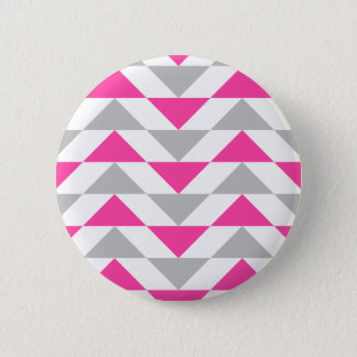 Geometric Triangles Pink Grey White Pattern 2 Inch Round Button