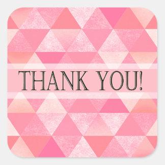 Geometric Triangles Thank You | peony pink mauve Square Sticker