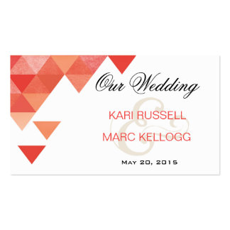 Geometric Triangles Wedding Website | coral Business Card Template