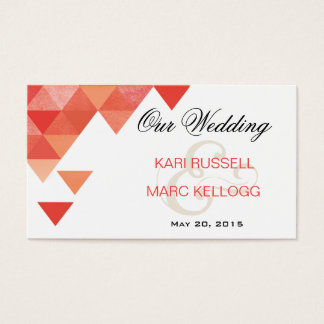Geometric Triangles Wedding Website | coral Business Card
