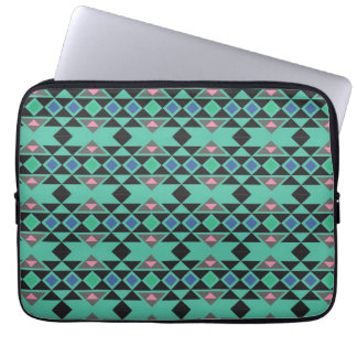 Geometric tribal aztec andes hipster teal pattern laptop sleeve