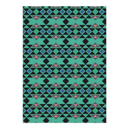 Geometric tribal aztec andes hipster teal pattern poster ...