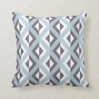 Geometric Tribal Diamond Pattern Blue Throw Pillow