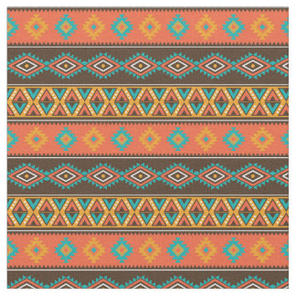 Geometric Tribal Earth Tone Stripes Fabric