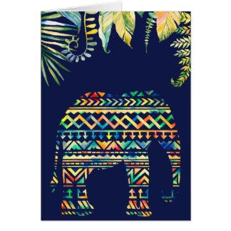 Geometric Tribal Pattern Jungle Elephant Card