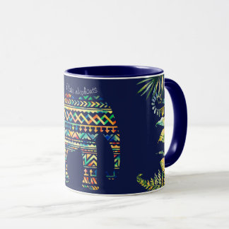 Geometric Tribal Pattern Jungle Elephant Mug