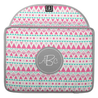 Geometric Tribal Triangles (Pink / Aqua) Monogram MacBook Pro Sleeves