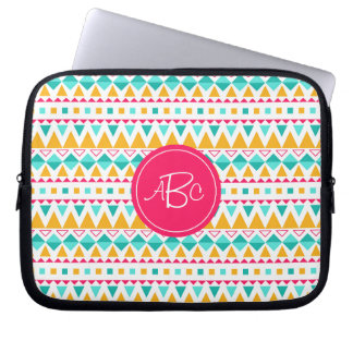 Geometric Tribal Triangles (Yellow, Aqua) Monogram Laptop Computer Sleeve