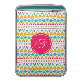 Geometric Tribal Triangles (Yellow, Aqua) Monogram MacBook Sleeves