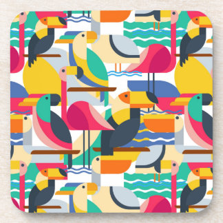 Geometric Tropical Birds Beverage Coasters