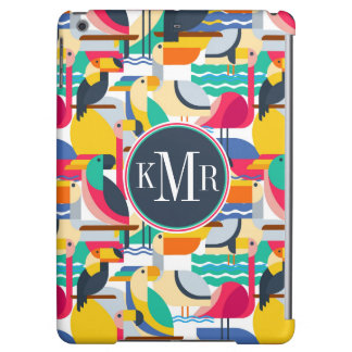 Geometric Tropical Birds | Monogram Case For iPad Air