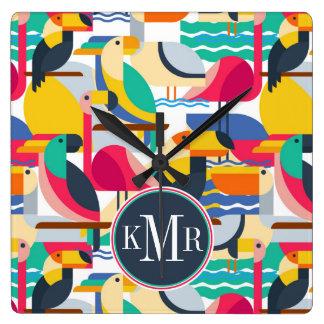 Geometric Tropical Birds   Monogram Wall Clocks