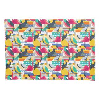 Geometric Tropical Birds Pillowcase