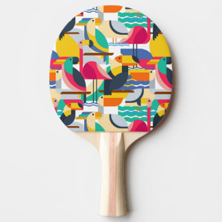 Geometric Tropical Birds Ping-Pong Paddle