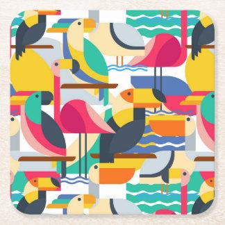 Geometric Tropical Birds Square Paper Coaster