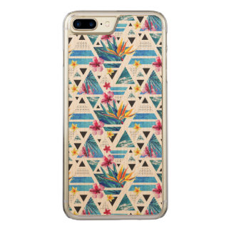 Geometric Tropical Flowers Pattern Carved iPhone 8 Plus/7 Plus Case