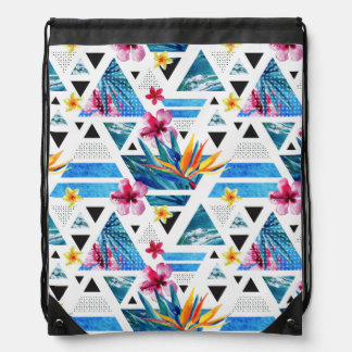 Geometric Tropical Flowers Pattern Drawstring Bag