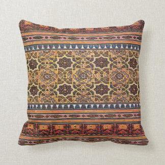 Geometric, Vintage Indian, Moor Tile Look Throw Pillow