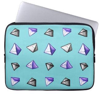 Geometric Watercolor Pyramid Pattern Geek Laptop Sleeve