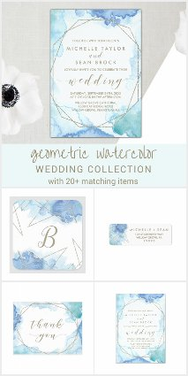 Geometric Watercolor Wedding Invitation Collection