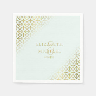 Geometric Wedding Party Supplies Gold/Mint ID477 Paper Napkin