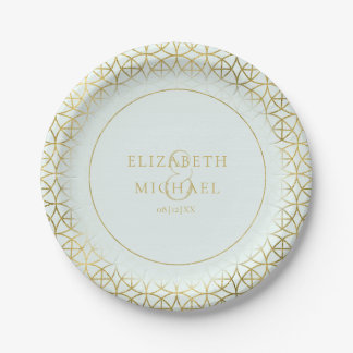 Geometric Wedding Party Supplies Gold/Mint ID477 Paper Plate