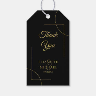 Geometric Wedding Thank You Gold/Black ID477 Gift Tags