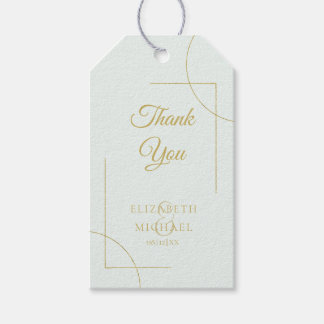 Geometric Wedding Thank You Gold/Mint ID477 Gift Tags