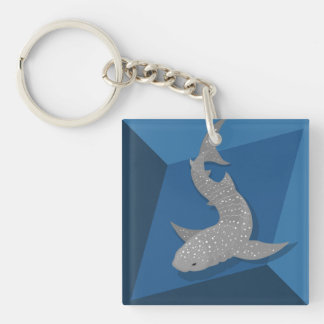 Geometric Whale Shark Vector Art Keychain