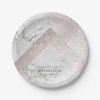 Geometric White Glitter Pink Rose Gold Marble Paper Plate