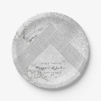 Geometric White Glitter Silver Gray Marble Linen Paper Plate