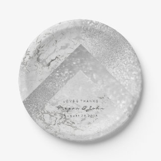 Geometric White Glitter Silver Gray Marble Stone Paper Plate