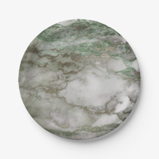 Geometric White Gray Carrara Mint Cali Gold Marble 7 Inch Paper Plate