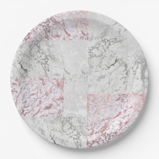 Geometric White Gray Silver Pink Rose Stone Marble Paper Plate