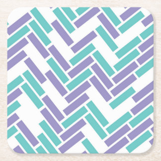 Geometric White, Teal and Purple Coaster Design