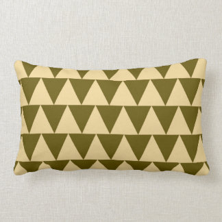 Geometric Winter Green and Cream Triangles Lumbar Pillow