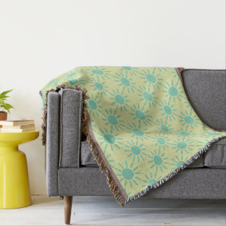 Geometric Winter Sky Blue on Straw Throw Blanket