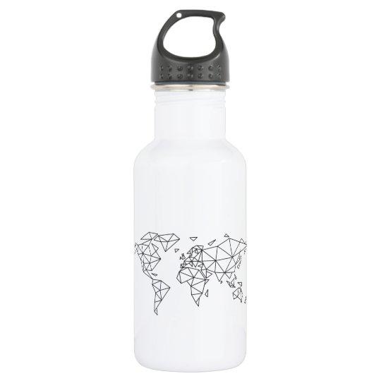 Geometric world map 532 ml water bottle