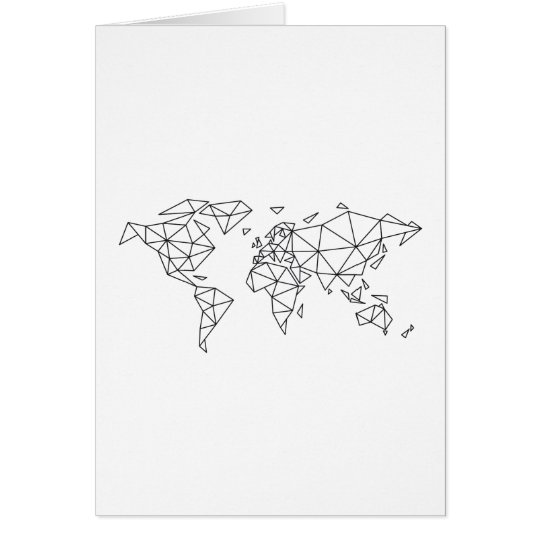Geometric world map card