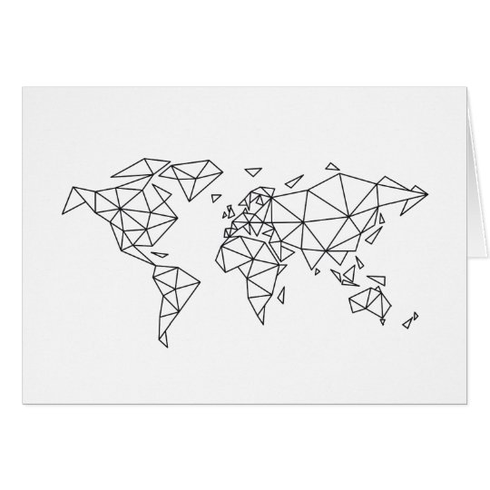 Geometric world map card
