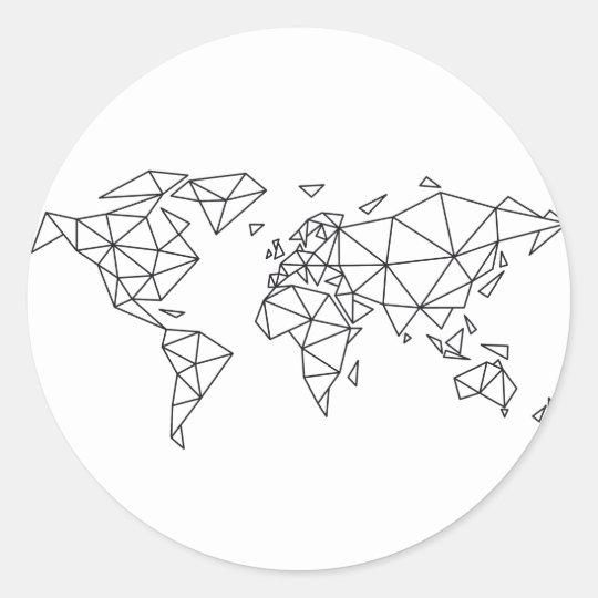 Geometric world map classic round sticker
