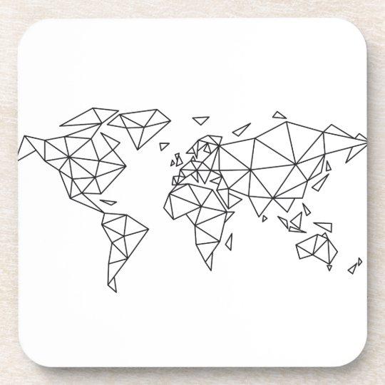 Geometric world map coaster