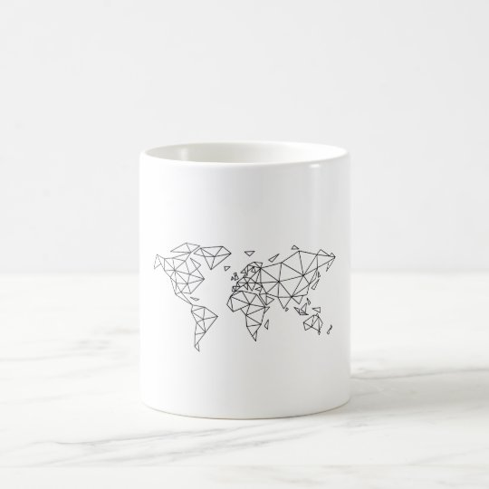 Geometric world map coffee mug