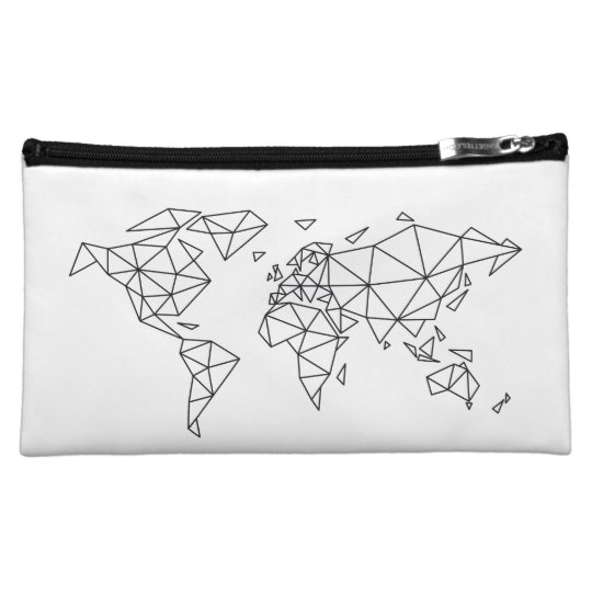 Geometric world map cosmetic bag