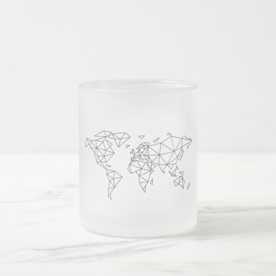 Geometric world map frosted glass coffee mug
