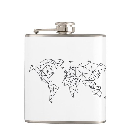 Geometric world map hip flask