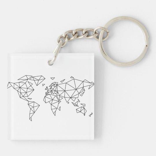 Geometric world map keychain