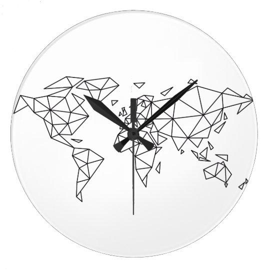 Geometric world map large clock